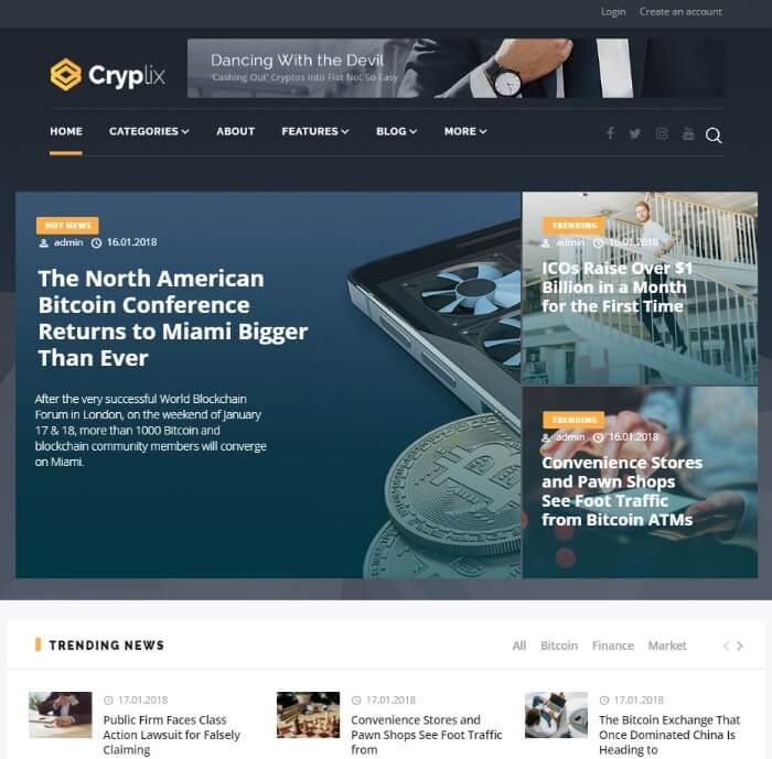 cryplix WordPress theme