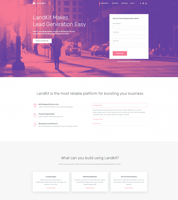 Landkit WordPress Landing Page Theme