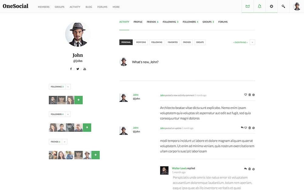 OneSocial BuddyPress Theme