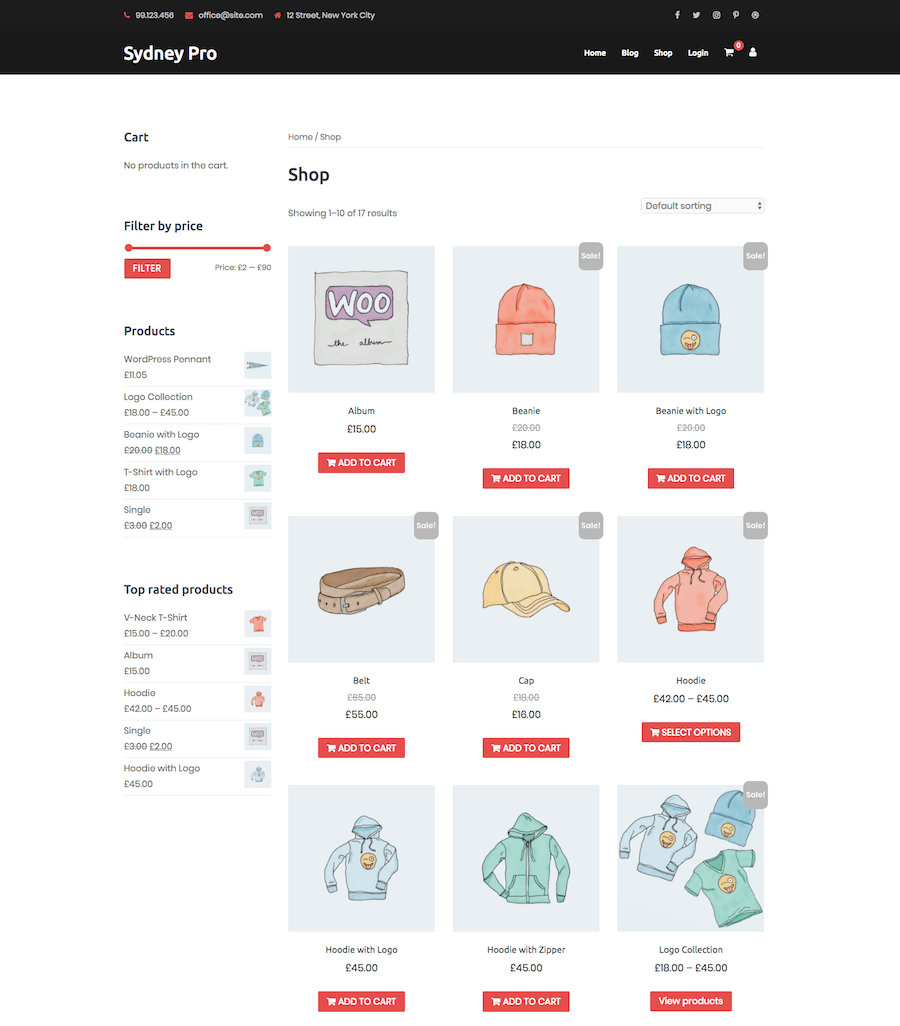 WooCommerce Shop Sydney Theme